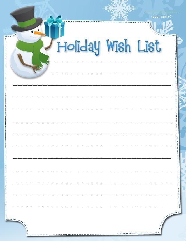 Printable Holiday wish lists Holiday wish list 1 Holidays, Xmas - printable wish list template
