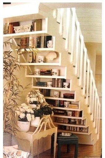 Decoración de escaleras ¡fabulosa! Organizing, Shelves and House