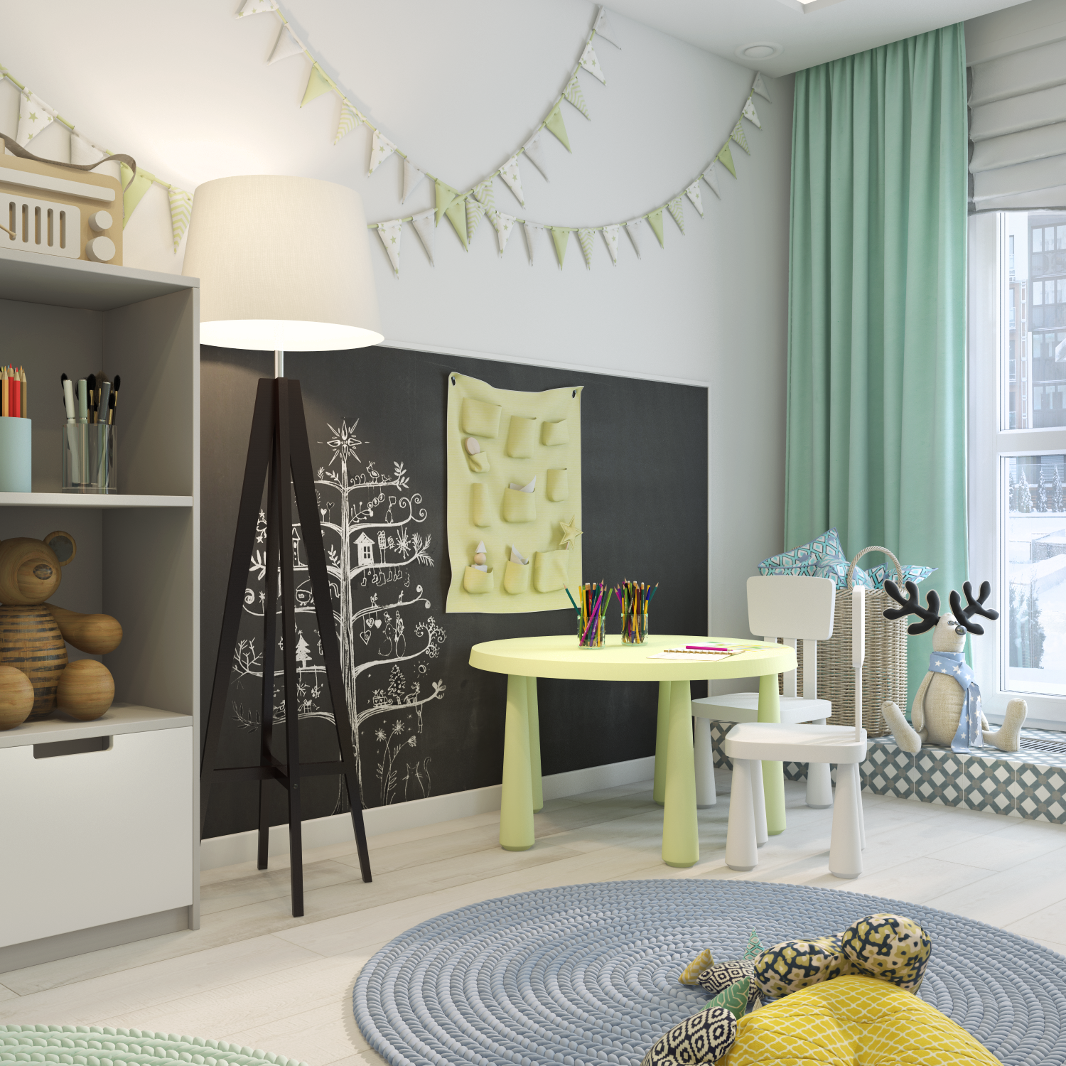 Interior design of children's bedroom the childrenus room is associated with a constructor or a