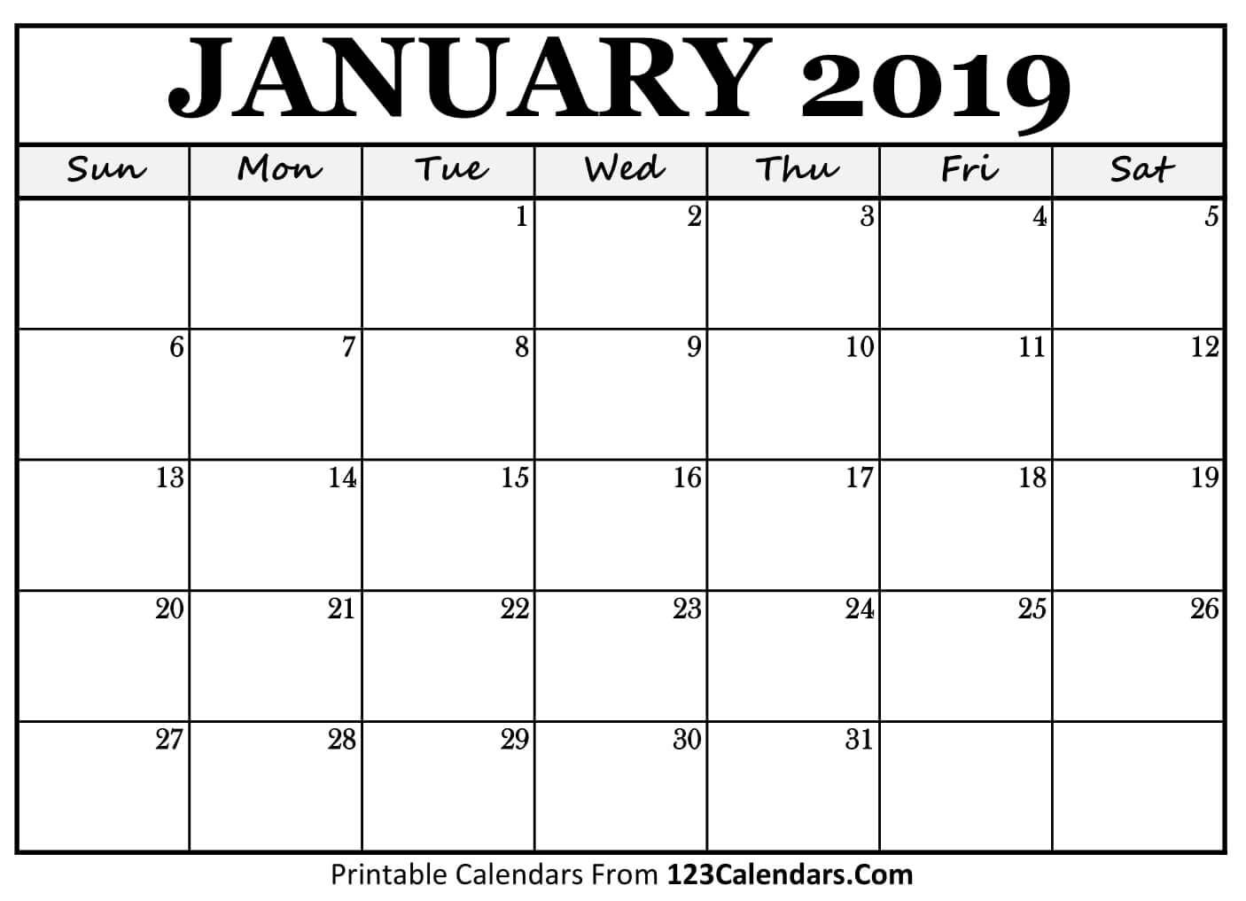 calendar template january 2019