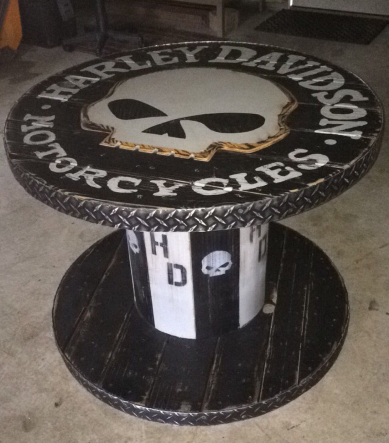 Wooden Spool Harley Davidson Table Harley Davidson