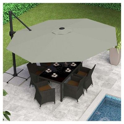 Deluxe Offset Patio Umbrella In Sand Grey   Corliving | Products |  Pinterest | Grey, Patio Umbrellas And Sands