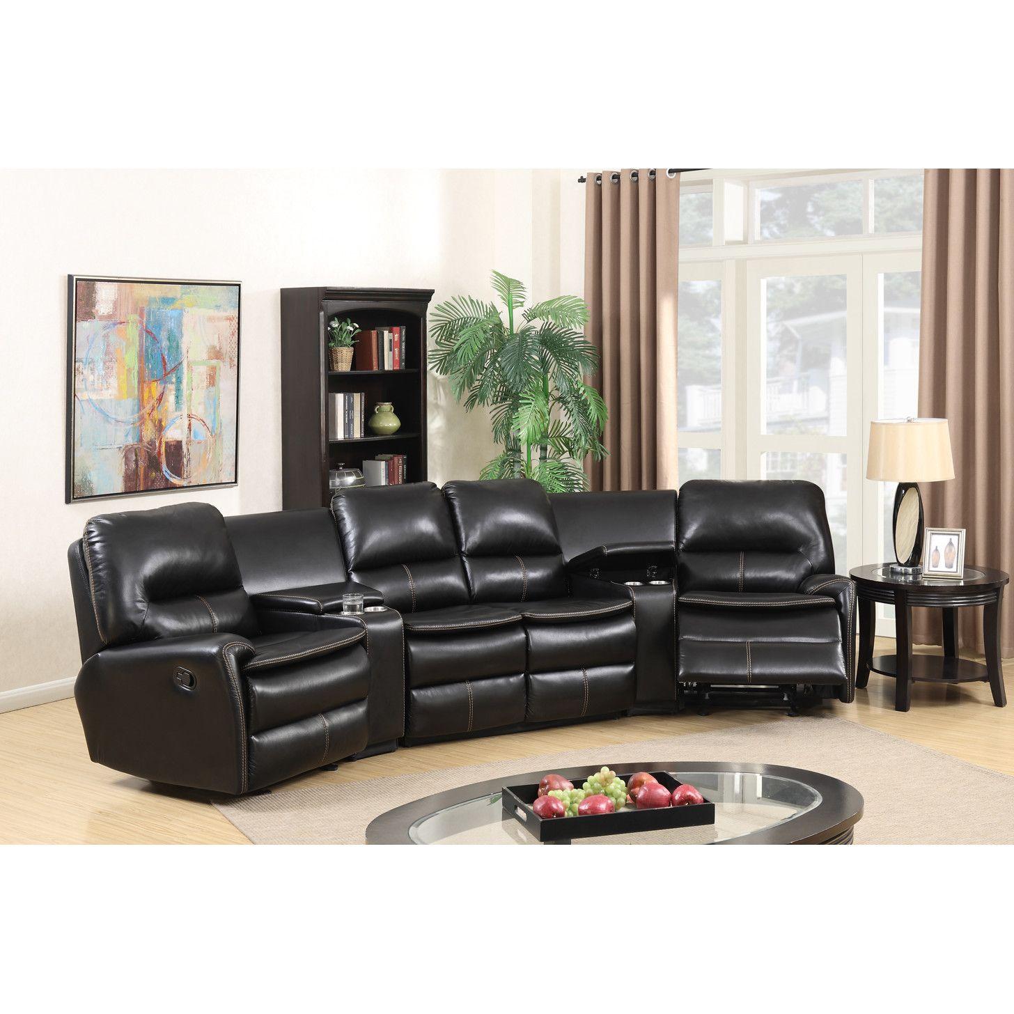 Sensational Yonkers Reclining Sectional Basement Leather Reclining Short Links Chair Design For Home Short Linksinfo