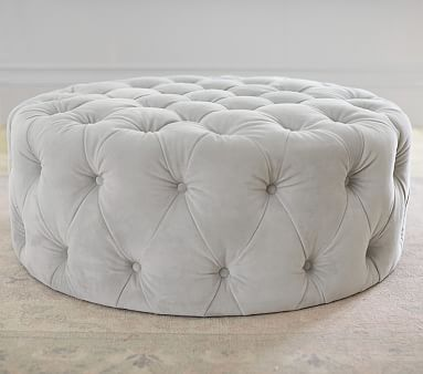 Monique Lhuillier, Large Round Tufted Ottoman, Gray Velvet | Bebe y Leer