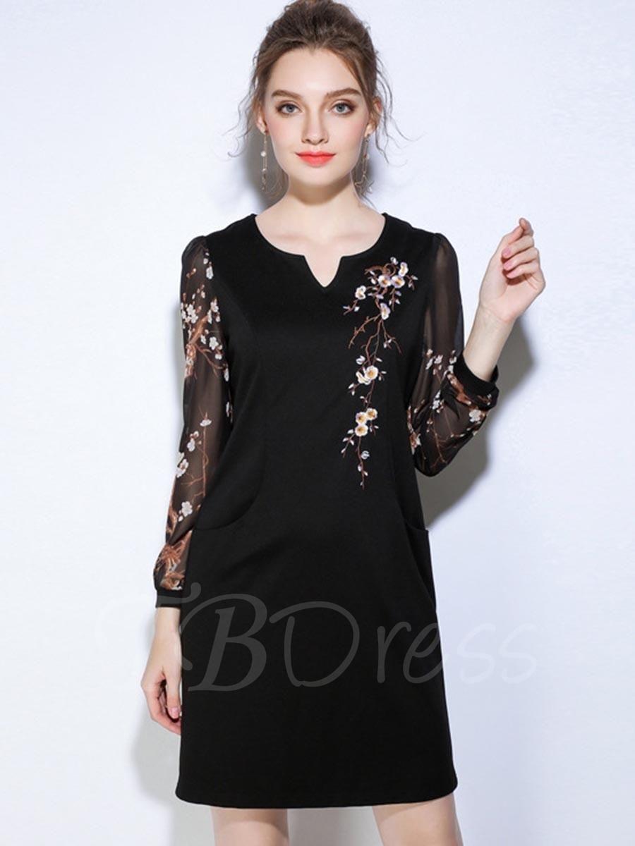 Tbdress tbdress embroidery black pockets womens day dress