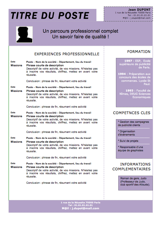 informations complementaires informatique cv exemple