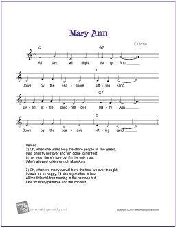 Mary Ann Sheet Music Lyrics Chords Free Sheet Music