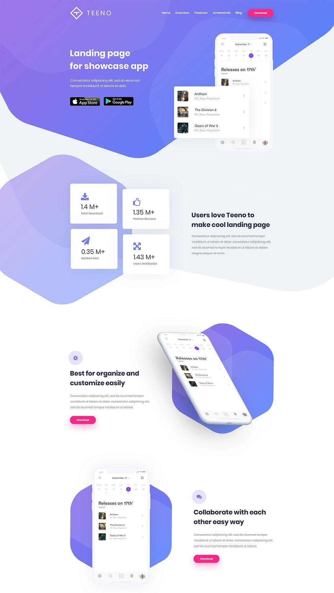 Teeno - App Landing Page