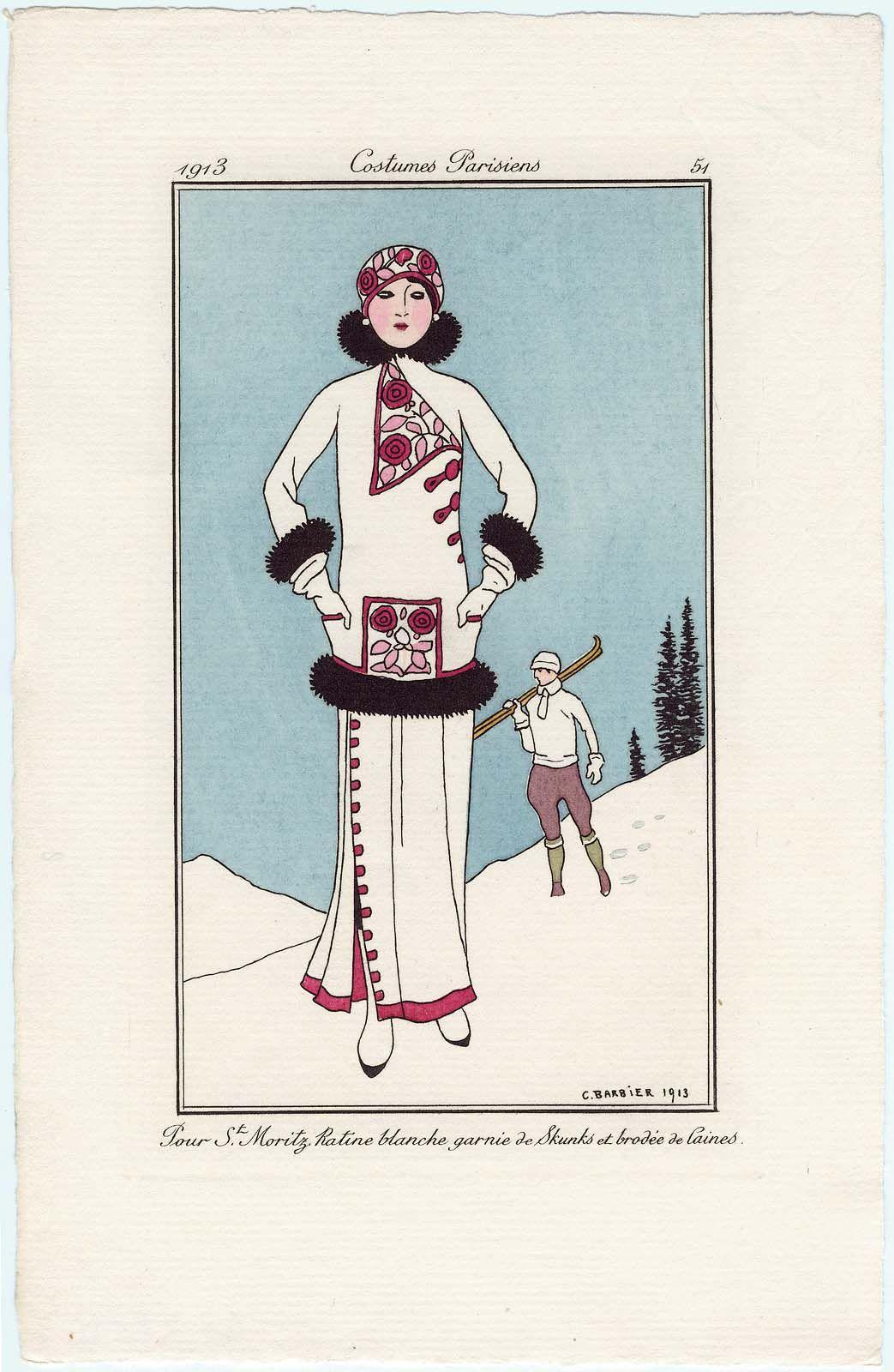 """*  """"Pour St. Moritz. Ratine blanche garnie de Skunks et brodée de laines,"""" plate 51 from Journal des Dames et des Modes 1913 - George Barbier"""
