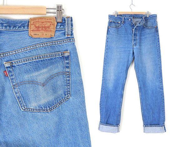Vintage 80s Distressed Levi's 501 Button Fly Men's Jeans - 35 x 34 ...