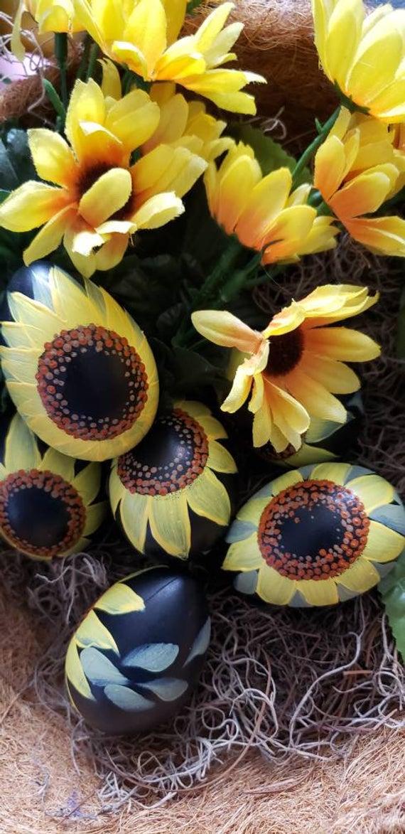 Hand Painted Sunflower Egg