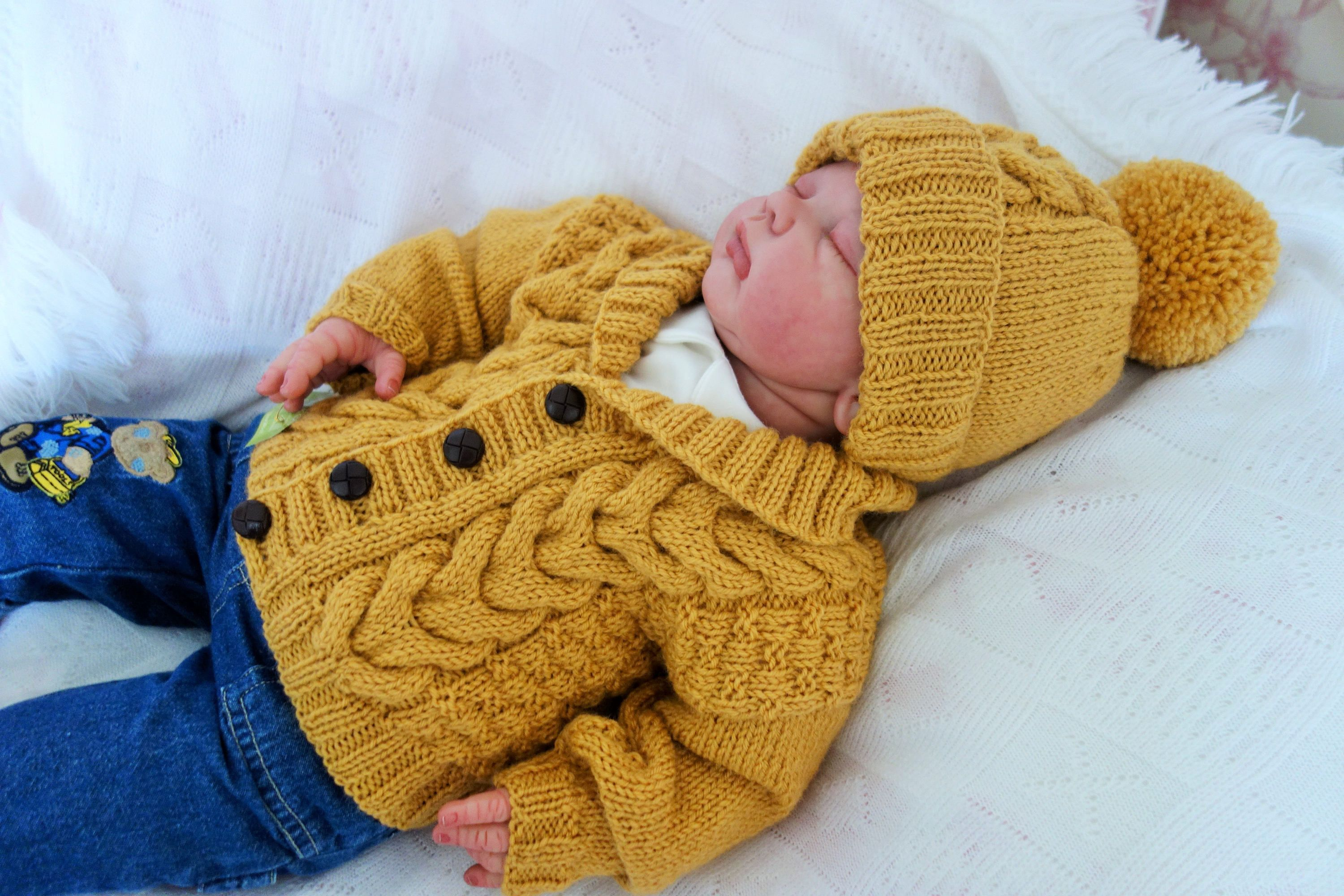 338656920 Hand knitted baby cardigan sweater with shawl collar and hat in ...