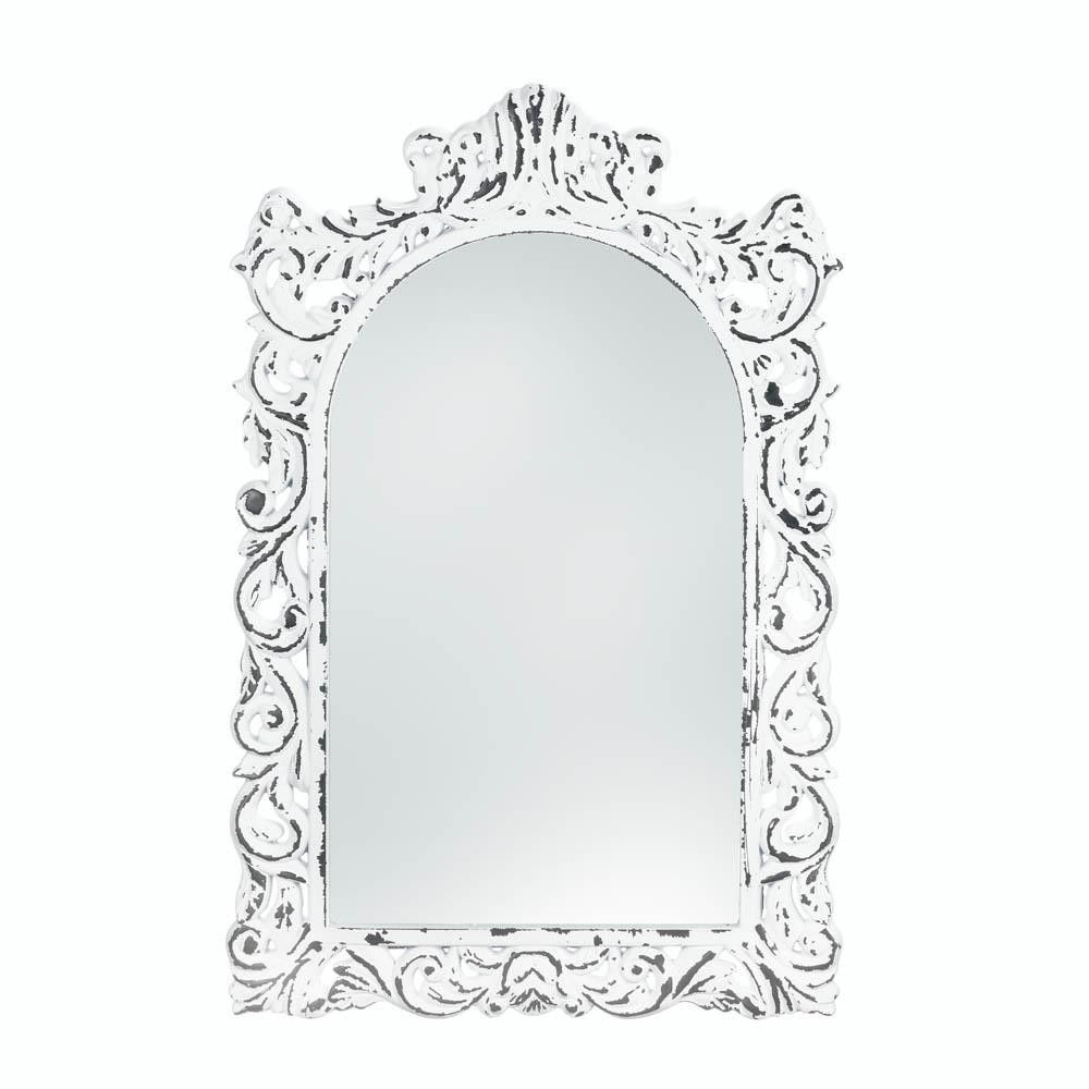 Distressed White Ornate Wall Mirror Products Pinterest