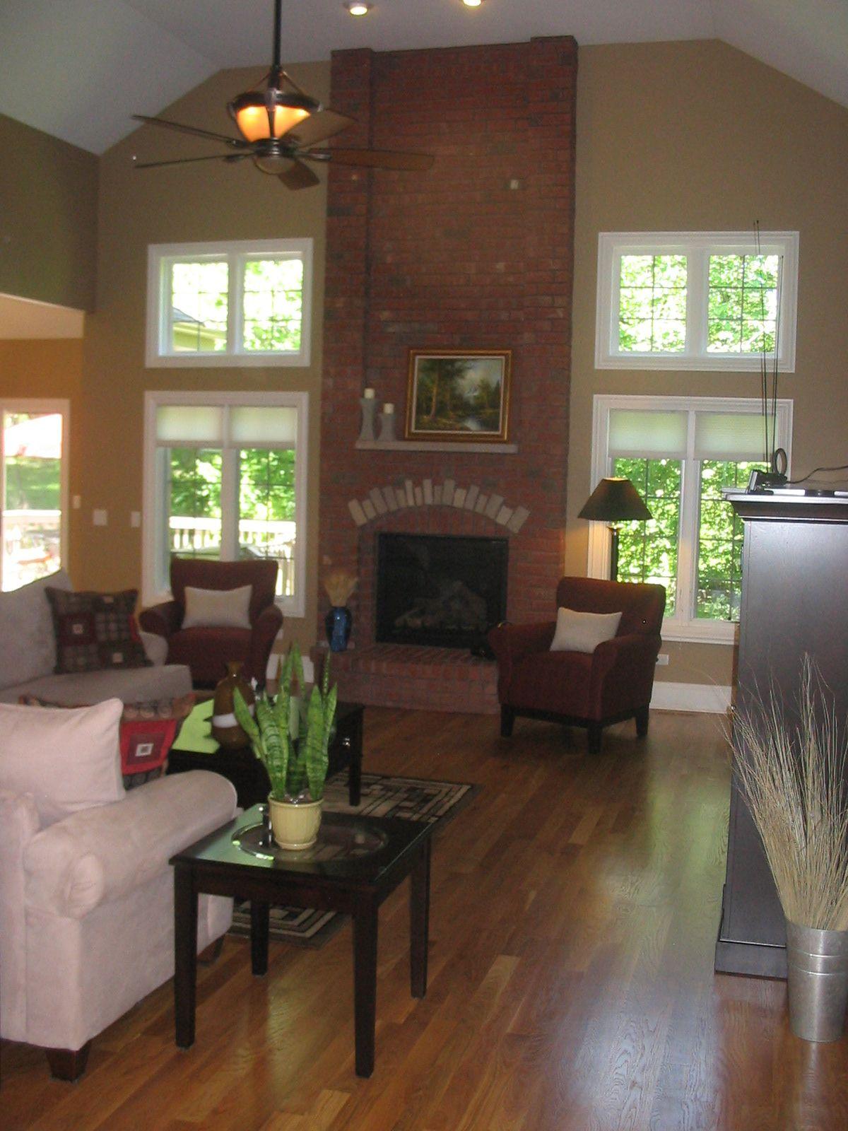 Interior Design Fireplace Living Room: Open Living Room, Brick Fireplace