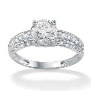 10k White Gold Cubic Zirconia Engagement Ring Cubic Zirconia Engagement Rings White Gold Rings Engagement Rings