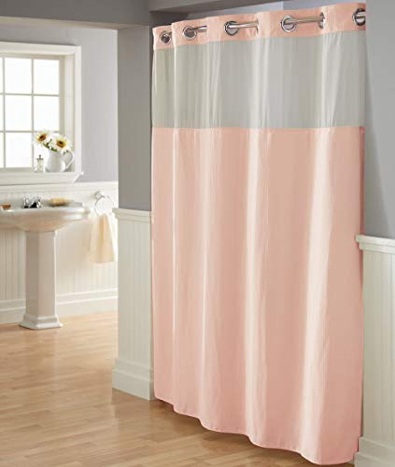 Hookless Waffle Shower Curtain With Fabric Liner Blush Read More
