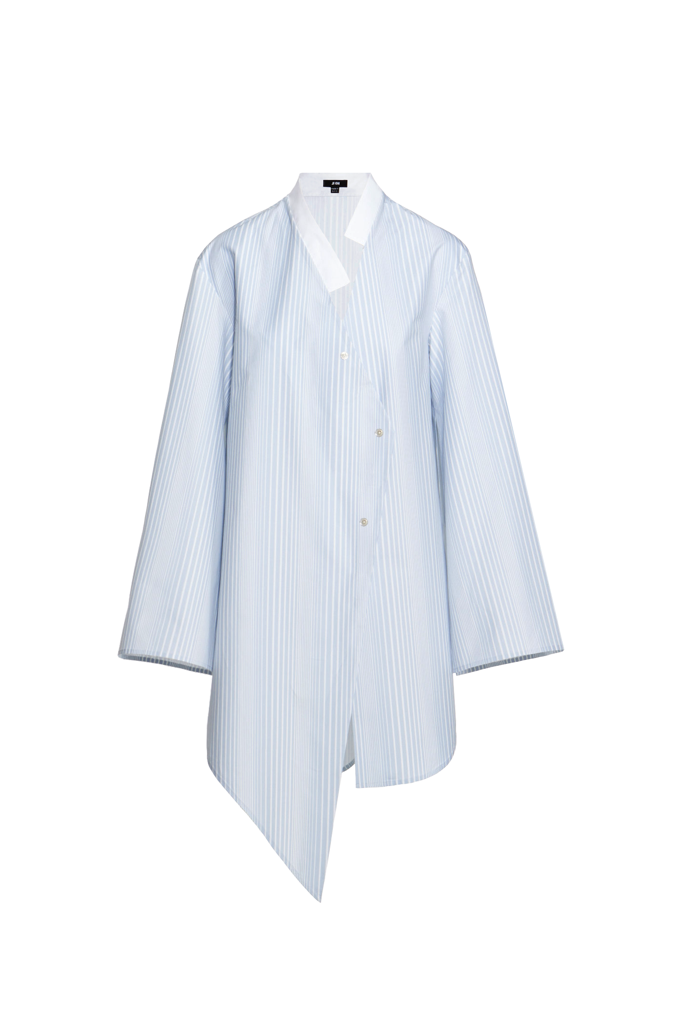 05e1a86aba9 Ji Oh Baby Blue And White Stripe Print Cotton Diagonal Front Closure Stand  Collar Button Down Shirt Dress Angled Asymmetrical Hem Long Bell Sleeves  With ...