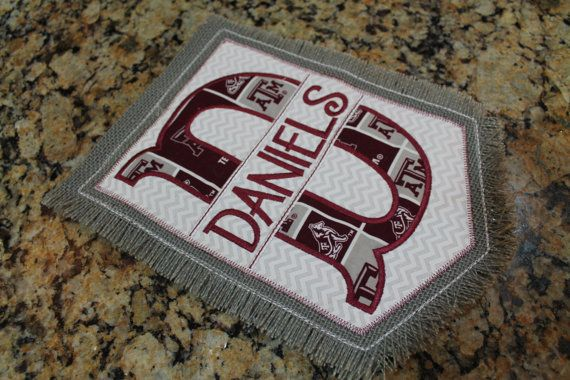 Texas A&M University inspired garden flag - appliqué and embroidery burlap yard decoration Gig 'Em Aggies TAMU embroidered home decor