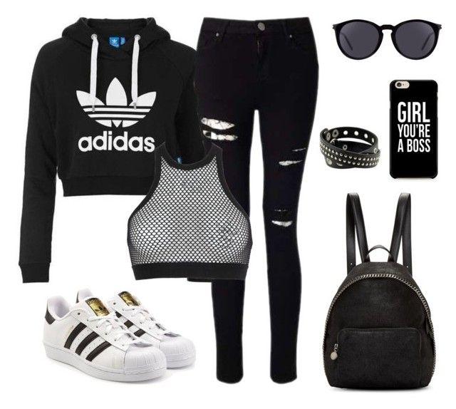"""Adidas babe"" by luna-peri on Polyvore featuring moda, adidas Originals, Miss Selfridge, STELLA McCARTNEY, Dsquared2 y Yves Saint Laurent"
