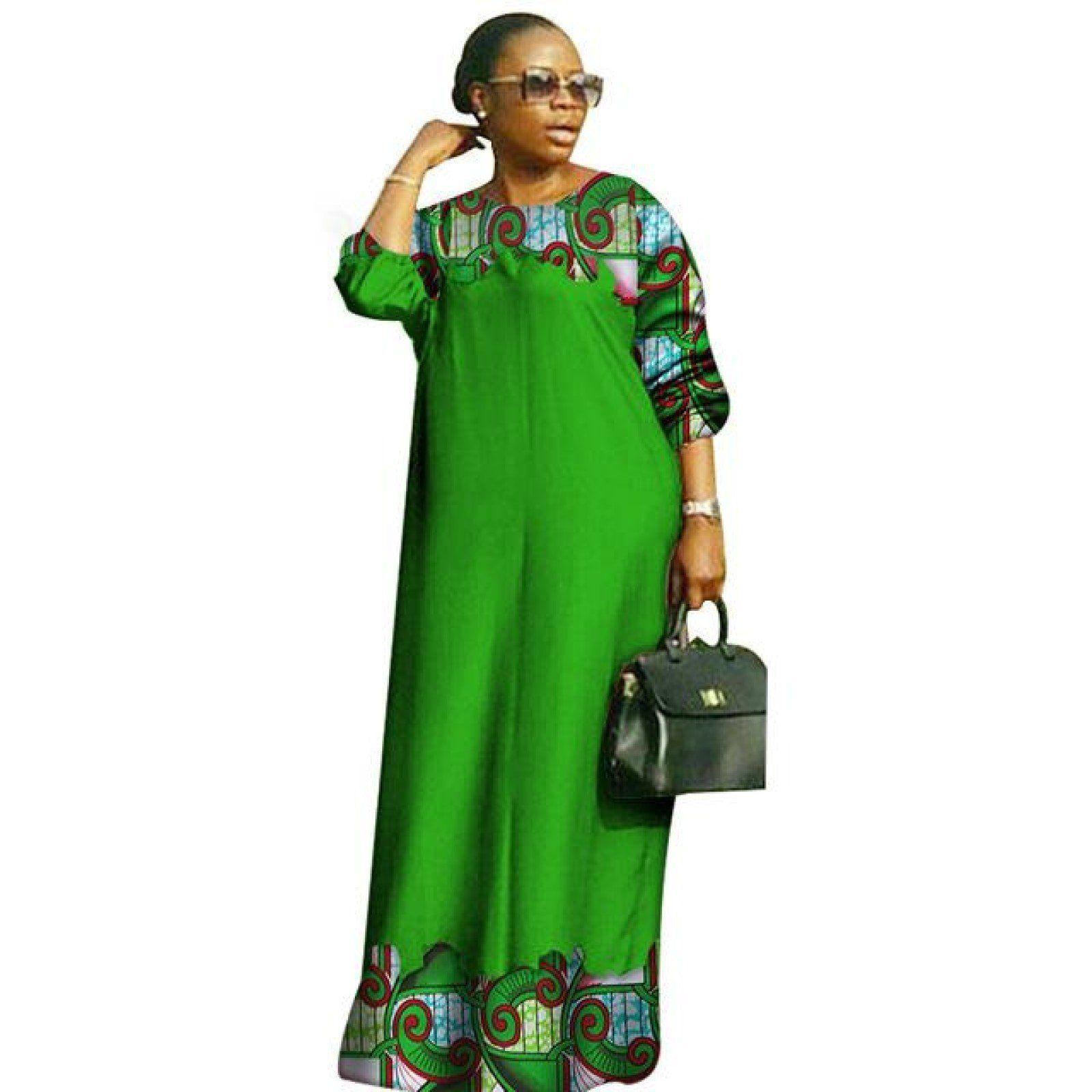 African dashiki women bazin riche o-neck long loose X11370