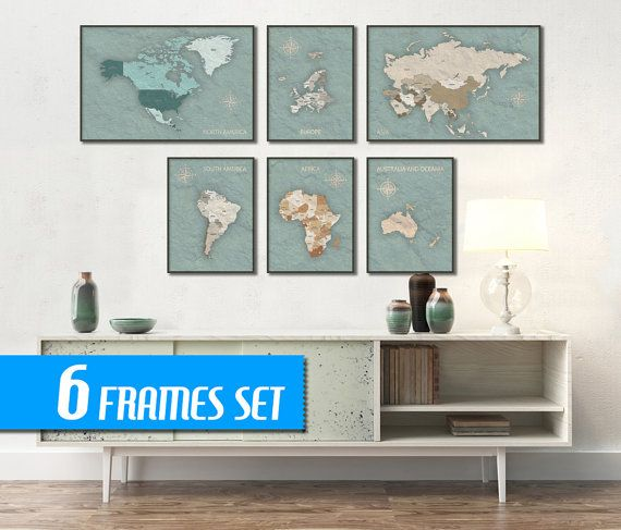WORLD MAP SET of 6 frames  World map canvas print by ArchTravel