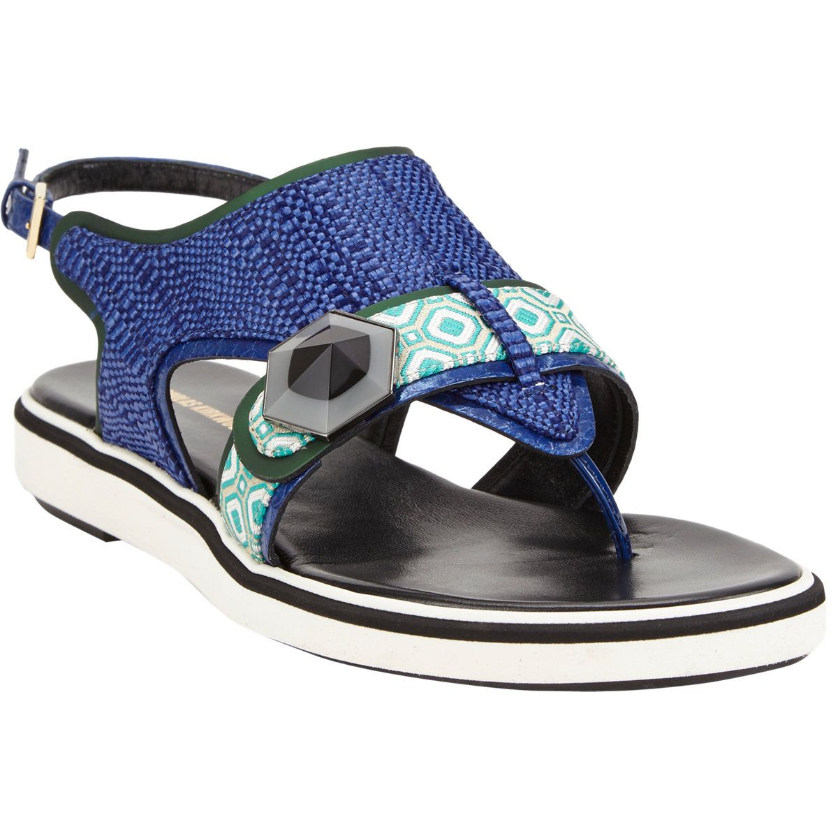 Nicholas Kirkwood Jacquard Thong Slingback Sandals at Barneys.com