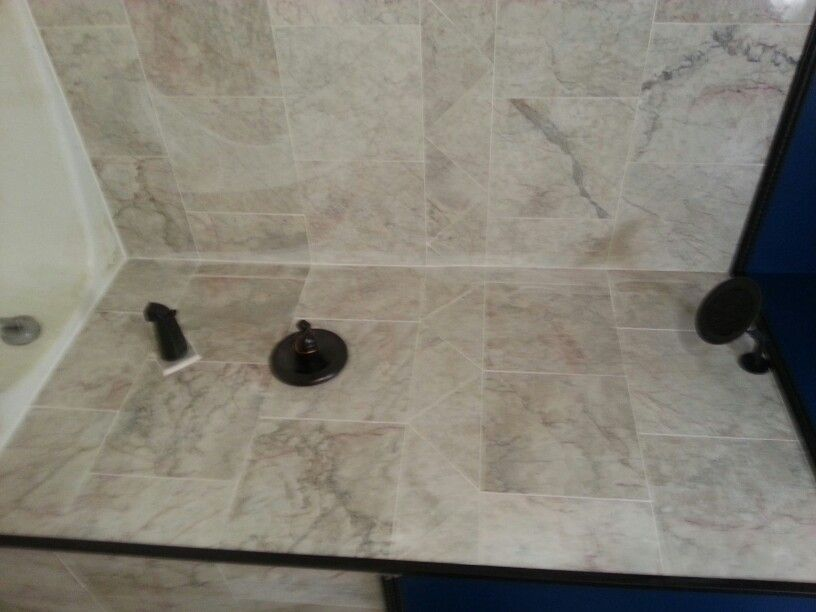 Marble shower over tub by American flooring lc Marble