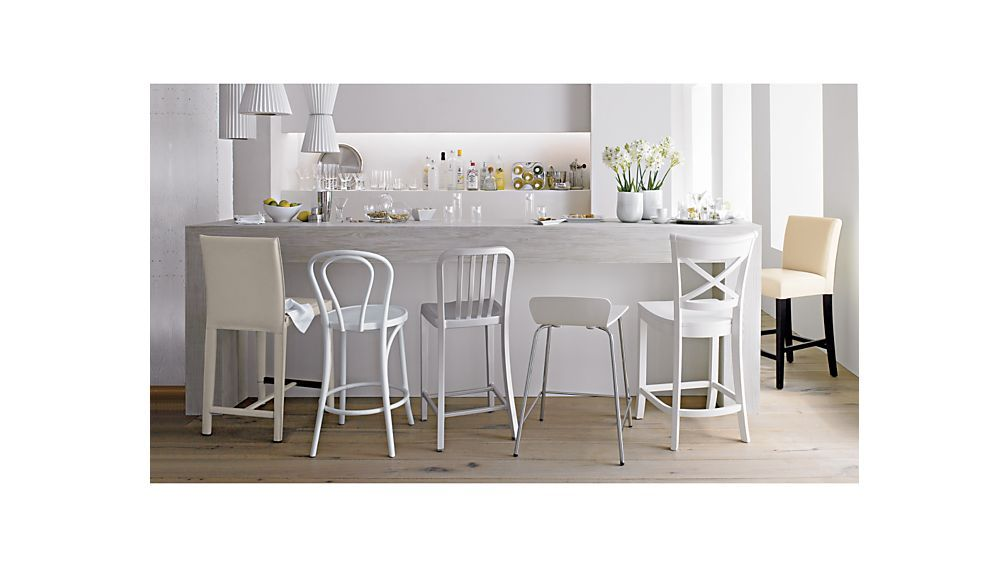 Vintner White Bar Stool And Cushion Crate And Barrel White