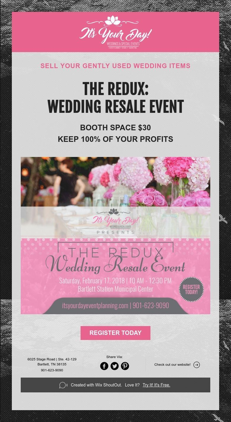 Sell Your Gently Used Wedding Items The Redux Wedding Resale Event Event Booth Event Wedding