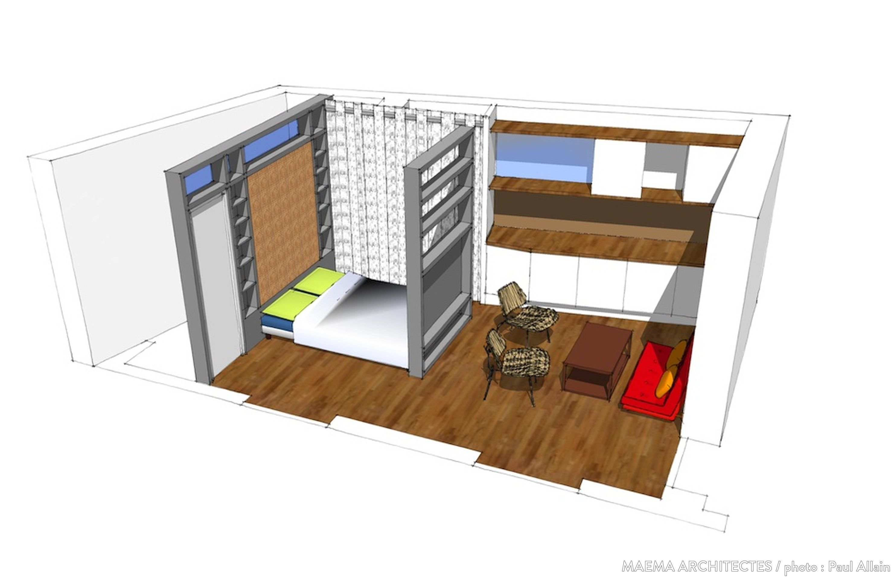 Maquette d 39 am nagement d 39 un studio plans pinterest for Amenagement sejour cuisine 20m2
