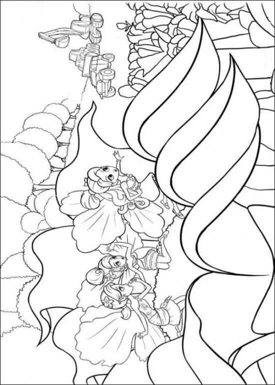 Free coloring sheets of barbie thumbelina printable picture 1 550x770 picture