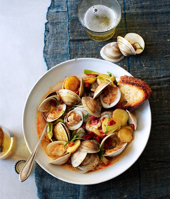 Littleneck Clams with New Potatoes and Spring Onions  Pinned from PinTo for iPad 