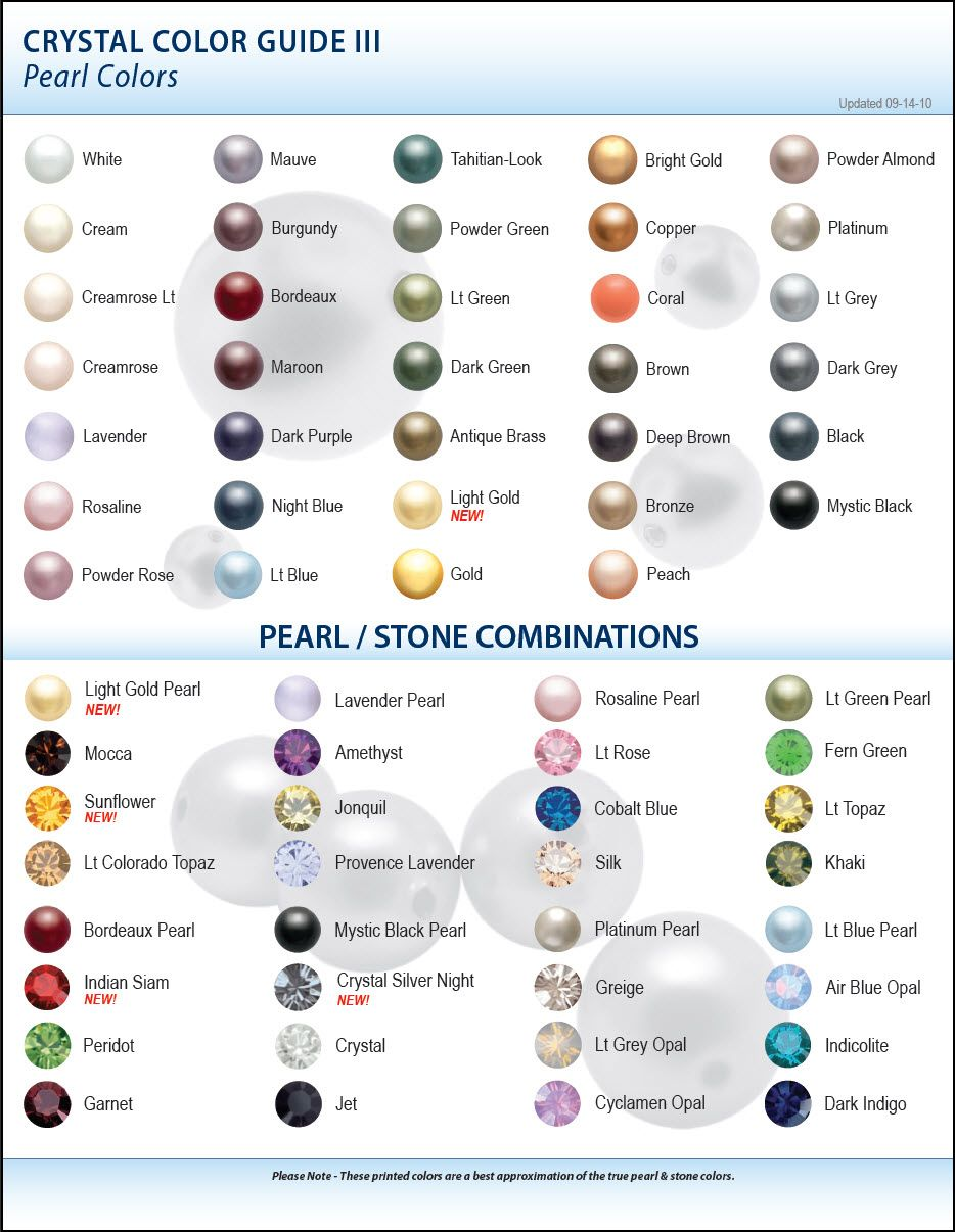 Colored Pearls Crystal Color Guide Pearl Colors 2010 Everybody Wear But Diffe