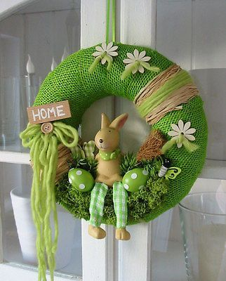 "Photo of Door wreath ""Herr Hase"" Easter wreath Easter Door decoration Decorative wreath Jute wreath …"