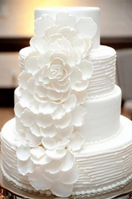 Round Wedding Cakes With Flowers White 4 Tier Cake