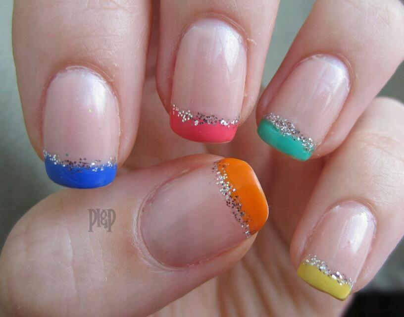 multi color sparkling tips nails | art | Pinterest | Hair makeup ...