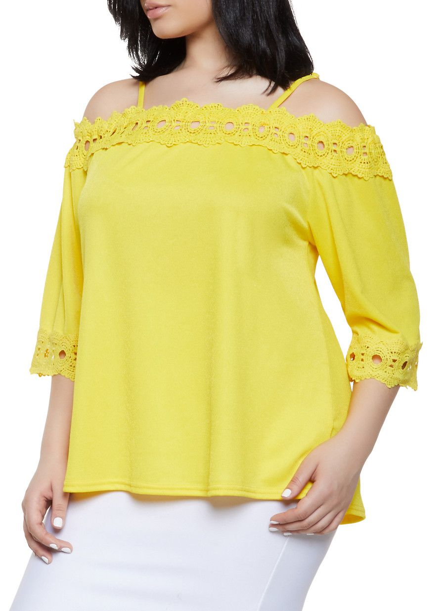 3cc70755c292 Plus Size Crochet Trim Off the Shoulder Top | 8428064467565 - Yellow - Size  3X