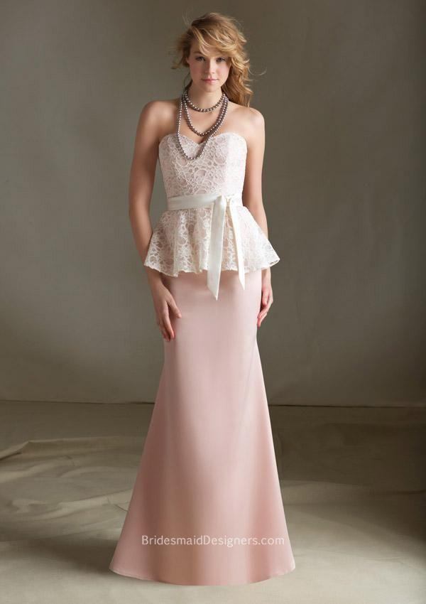 #strapless #sweetheart peplum lace bodice floor length a-line blush #bridesmaiddress