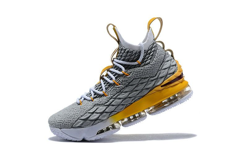 aad9cbee18210f 2018 Mens Original Nike LeBron 15 XV EP Basketball Shoes Wolf Grey Lemon  Yellow White