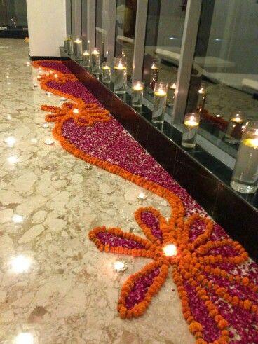 Floral rangoli & Floral rangoli | Beginners | Pinterest | Floral Diwali and Decoration