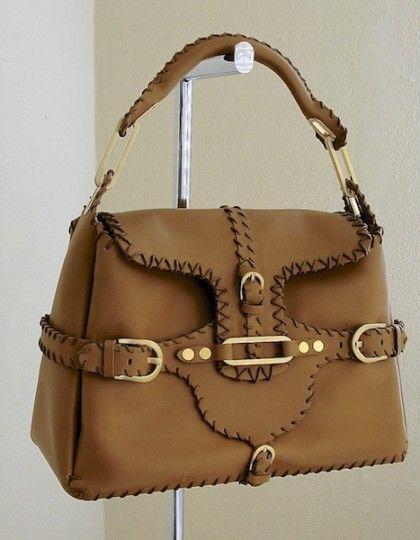 Jimmy Choo Brown Leather Tulita satchel Tote Bag Handbag