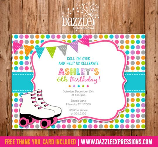 Printable Polka Dot Roller Skating Birthday Invitation Kids Or