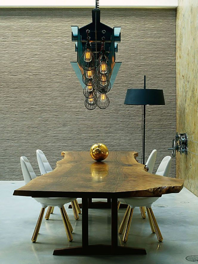 Attractive Contemporary Dining Room With Concrete Floors, Pendant Light, Live Edge  Wood Table, Interior Wallpaper, Standard Height