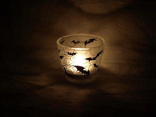 Svietnik na čajovú sviečku - Bats silhouettes by E.G.ART - SAShE.sk - Handmade Svietidlá a sviečky