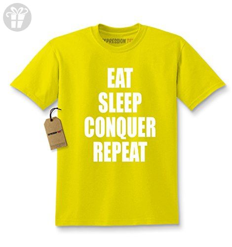 160737b48c921 Kids Eat Sleep Conquer Repeat T-Shirt Small Yellow ( Amazon Partner-Link)
