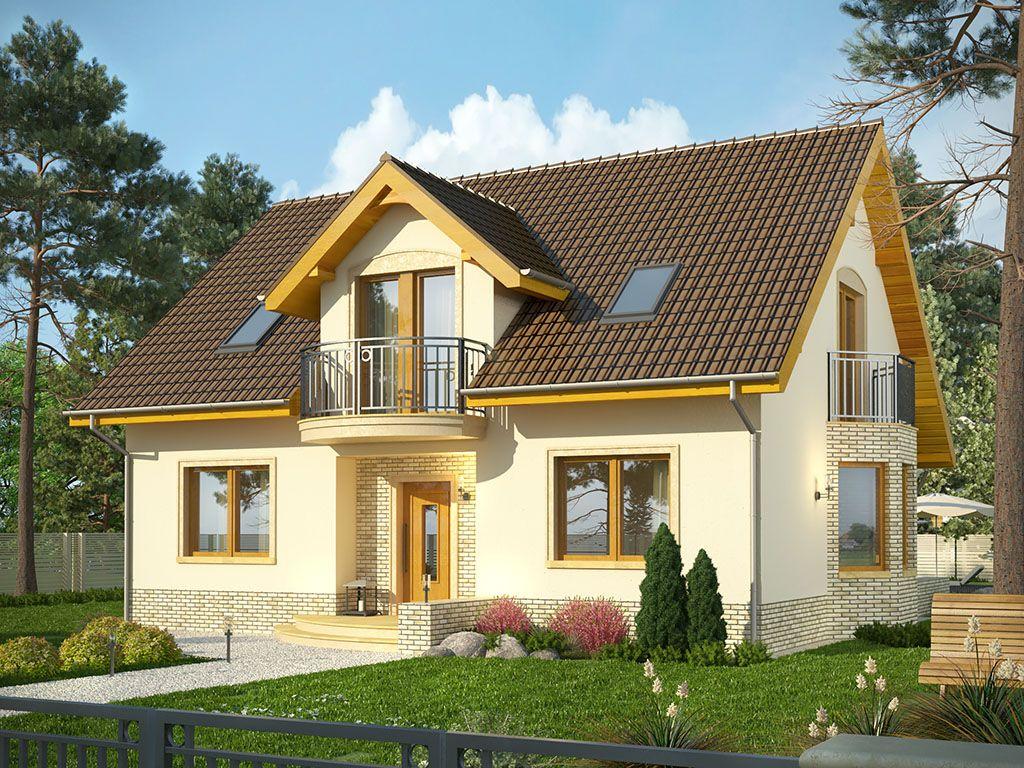 Dom Wicher 2 Projekty Domów Z Poddaszem Bez Garażu Domy Z