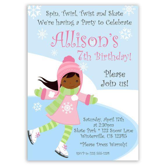 Skating Birthday Party Custom Invitations Winter Princess – Ice Skating Party Invitation Wording