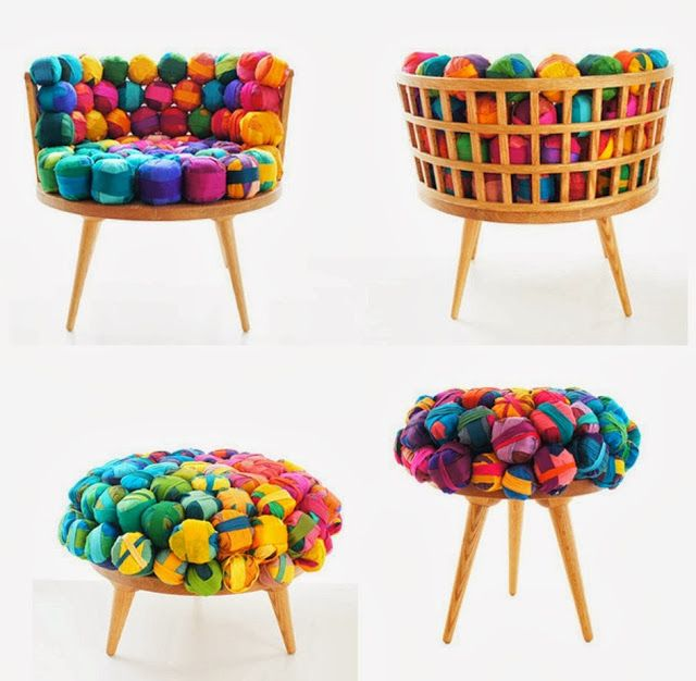 Recycled Silk Chair, Ottoman and Stool by MEB RURE   Design in Living Spaces is part of Diy furniture -