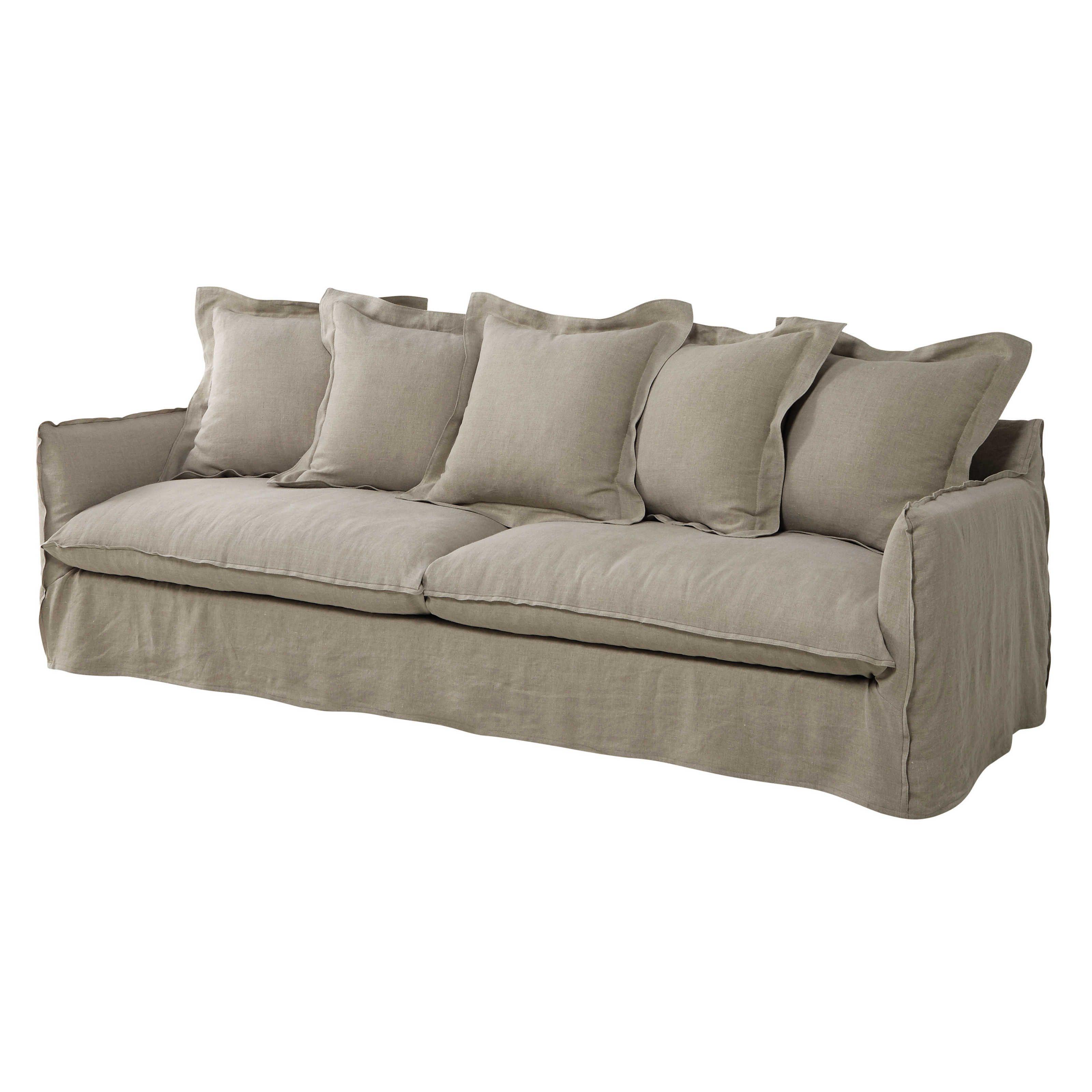 sof 5 plazas de lino lavado beis cordel barcelone. Black Bedroom Furniture Sets. Home Design Ideas
