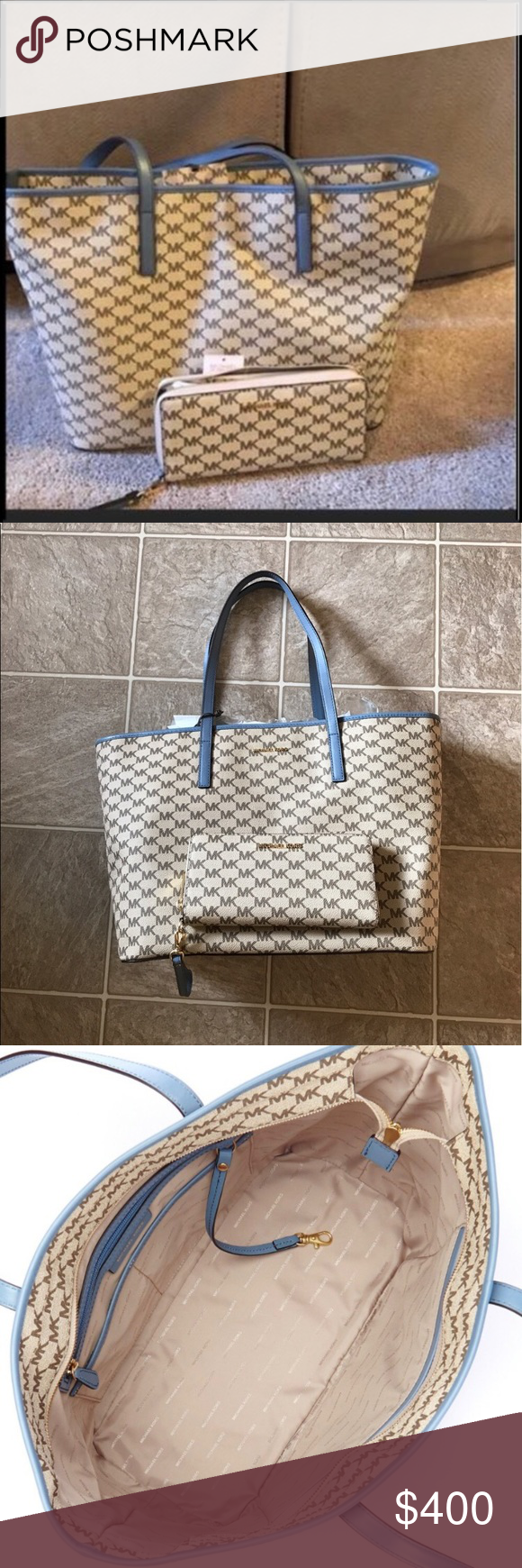 4e12d14af0aa Michael Kors Tan and blue tote purse   Wristlet Mercer tote is designed in  an elegant new interpretation of the classic MK logo